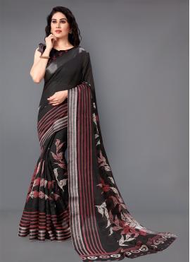 Integral Black Zari Designer Saree