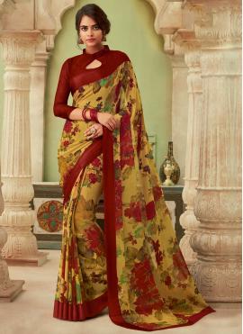 Integral Faux Chiffon Multi Colour Floral Print Saree