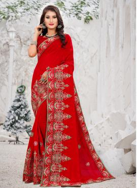 Integral Thread Work Red Silk Silk Saree