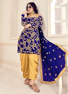 Intricate Blue Trendy Patila Salwar Suit