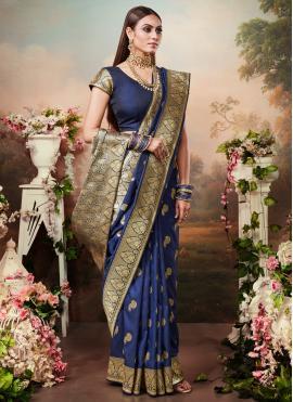 Intricate Weaving Silk Navy Blue Trendy Saree