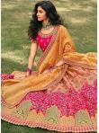 Intriguing Banarasi Silk Orange and Pink Zari A Line Lehenga Choli - 1