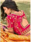 Intriguing Banarasi Silk Orange and Pink Zari A Line Lehenga Choli - 2