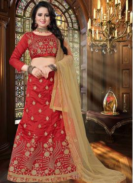 Intriguing Embroidered Art Silk Lehenga Choli