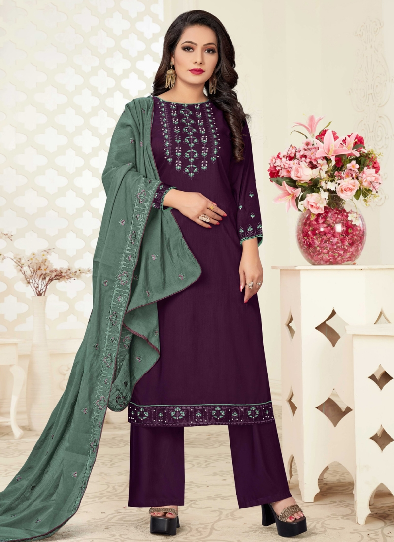Intriguing Embroidered Linen Readymade Suit