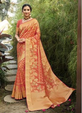 Intriguing Orange Festival Designer Traditional Saree