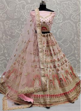 Intriguing Pink Patch Border Silk Lehenga Choli