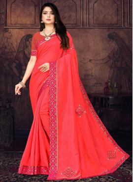 Intriguing Pink Stone Silk Casual Saree