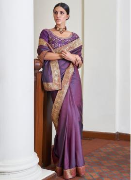 Intrinsic Art Silk Purple Traditional Designer Saree