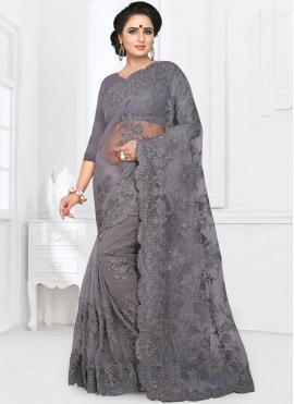 Intrinsic Net Grey Resham Classic Saree