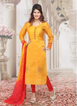 Intrinsic Orange Zari Chanderi Salwar Suit