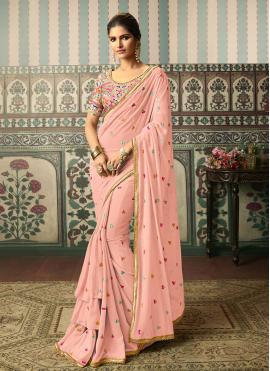 Intrinsic Resham Faux Georgette Pink Classic Designer Saree