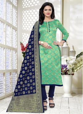 Invaluable Banarasi Silk Churidar Designer Suit