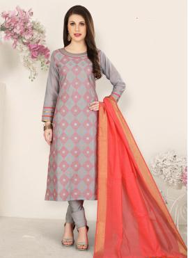 Invaluable Resham Grey Churidar Salwar Suit