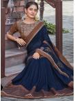 Invaluable Silk Navy Blue Patch Border Designer Saree - 1