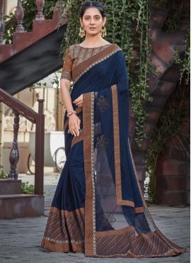 Invaluable Silk Navy Blue Patch Border Designer Saree