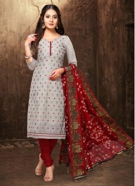 Invigorating Chanderi Grey Embroidered Churidar Designer Suit