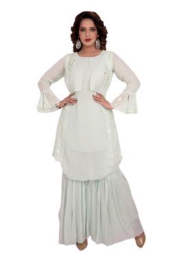 Invigorating Embroidered Off White Casual Kurti
