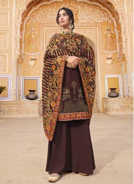 Invigorating Faux Georgette Wine Designer Pakistani Salwar Suit