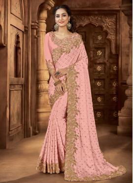 Invigorating Satin Embroidered Pink Bollywood Saree