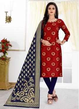 Invigorating Weaving Banarasi Silk Churidar Designer Suit