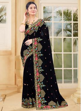 Irresistible Embroidered Vichitra Silk Traditional Saree