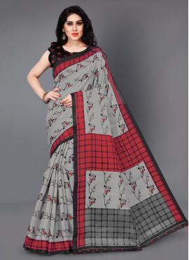 Irresistible Grey Printed Silk Trendy Saree