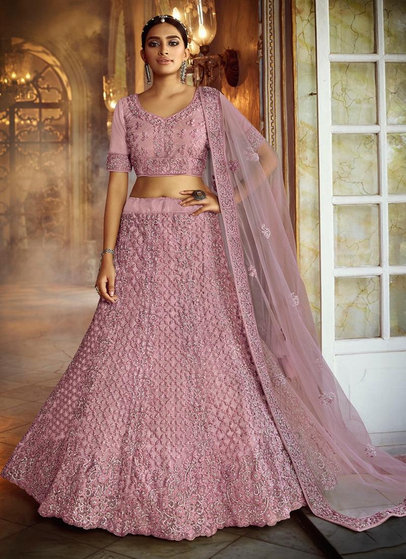 Irresistible Pink Net Lehenga Choli