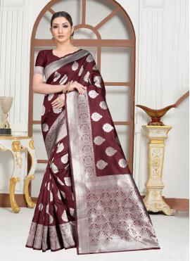 Irresistible Weaving Brown Contemporary Saree