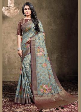 Jacquard Blue Designer Bollywood Saree