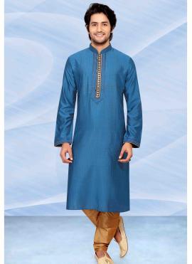 Jacquard Blue Embroidered Kurta Pyjama