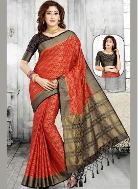 Jacquard Red Weaving Casual Saree