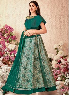 Jacquard Silk Green Embroidered Designer A Line Lehenga Choli