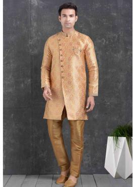 Jacquard Silk Peach Print Indo Western