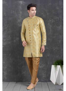 Jacquard Silk Print Yellow Indo Western