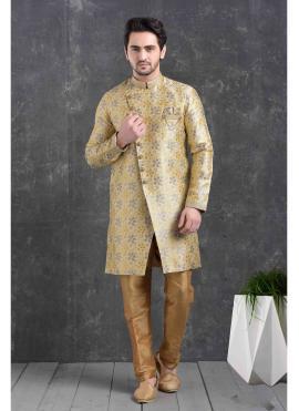 Jacquard Silk Printed Indo Western in Cream