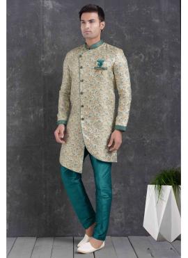 Jacquard Silk Teal Indo Western