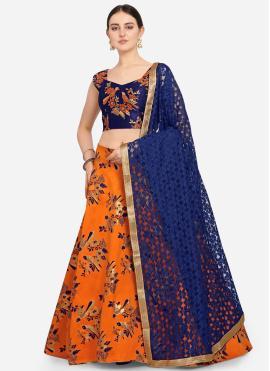 Jacquard Weaving A Line Lehenga Choli in Orange