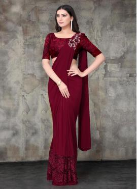 Jazzy Embroidered Lycra Maroon Trendy Saree