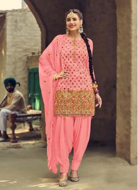 Jazzy Mirror Pink Faux Georgette Patiala Suit