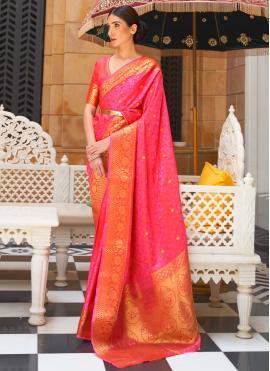 Kanjivaram Silk Pink Weaving Designer Traditional Saree