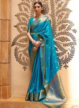 Kanjivaram Silk Traditional Designer Saree in Blue