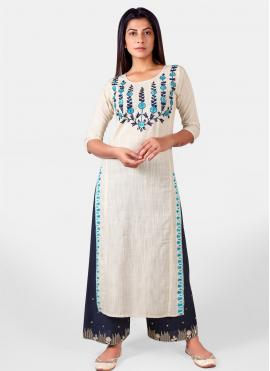 Khadi Embroidered Party Wear Kurti in Off White