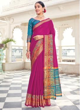 Khadi Silk Weaving Purple Silk Saree
