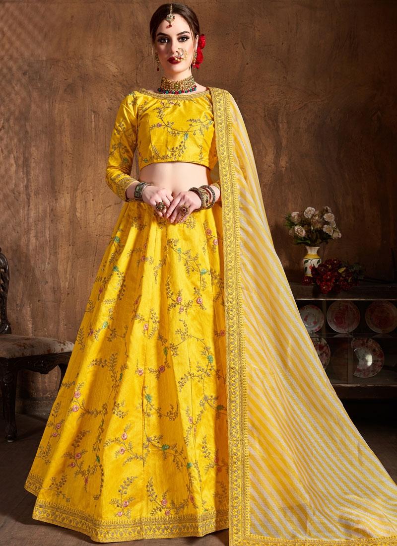 Lace Art Silk Lehenga Choli in Yellow