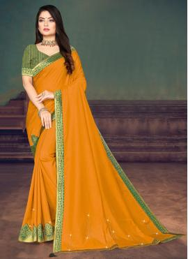 Lace Silk Trendy Saree in Yellow