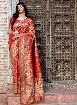 Latest Banarasi Silk Red Traditional Saree