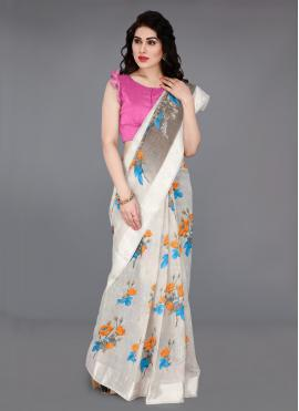 Latest Cotton Off White Printed Traditional Saree