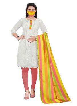 Latest Embroidered Off White Chanderi Salwar Kameez