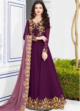 Latest Georgette Embroidered Purple Anarkali Salwar Suit